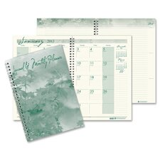 Monthly Planner/Journal, Ruled, 7 x 10, Green, 2012