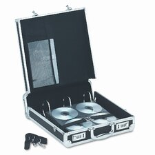 Vaultz Locking Media Binder, Padded Case Holds 200 Disks, Aluminum/Steel, Black