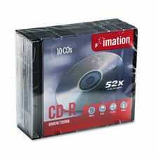 CD-R Discs with Slim Jewel Case, 10/Pack