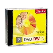 DVD-RW Discs with Jewel Cases, 5/Pack