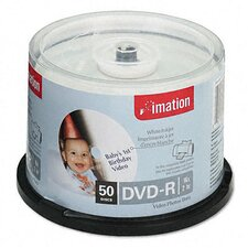 Inkjet Printable DVD-R Disc, 50/Pack