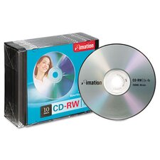 CD-RW Discs with Slim Jewel Cases, 10/Pack