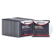 <strong>Innovera®</strong> CD/DVD Polystyrene Thin Line Storage Case, 25/Pack