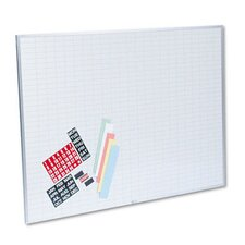 Magnetic Work/Plan Kit, 1 x 2 Grid, Porcelain-on-Steel, 48 x 36, Blue/White