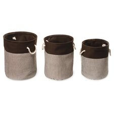 <strong>Badger Basket</strong> 3 Piece Nesting Round Basket / Hamper Set