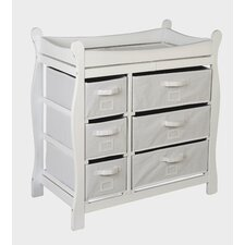 Sleigh Style Baby Changing Table with 6 Baskets