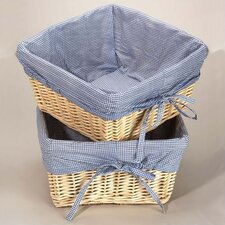 Natural Square Nursery Basket with Navy Gingham Liner