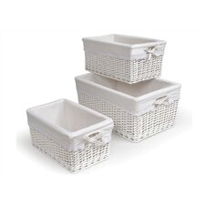 Wicker 3 Piece Basket Set with Liners