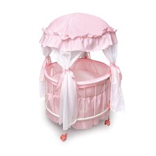 Royal Pavilion Round Doll Crib with Canopy and Bedding