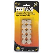 "Felt Pads, 3/4"" Diameter, 20 Circles/PK, Beige"