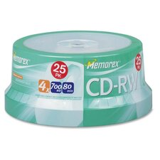 CD-RW, Rewritable, 4X, 700MB/80Min, Branded, 25 per Pack