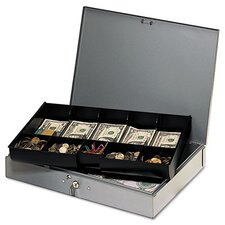Steelmaster Extra-Wide Steel Cash Box with 10 Compartments
