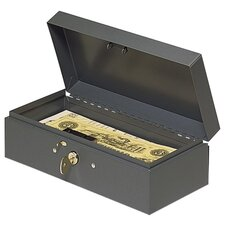 "Cash Box, Piano Hinges, Key Entry, 10-1/4""x4-3/4""x2-7/8"", Gray"