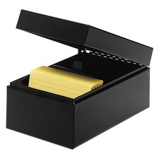 "Card File, Hinged Lids, 3""x5"", Black"