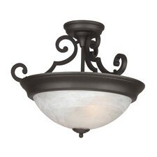 Three Arm Basic Alabaster 2 Light Semi Flush Mount
