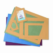 Pre-Cut Mat Frames for Photo/Art, 12 Mats/5 Asst Sizes, 60/pk, Asst Colors