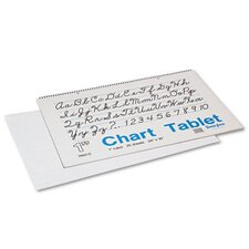 <strong>Pacon Corporation</strong> Chart Tablets w/Cursive Cover, Ruled, 24 x 16, White, 25 Sheets/Pad