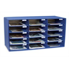 "Mail Box, 15 Slots, 12-1/2""x10""x3"", Blue"