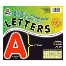 "Self-Adhesive Letters, 4"", 78 Characters, Red"