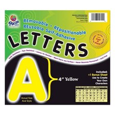 "Self-Adhesive Letters, 4"", 78 Characters, Yellow"