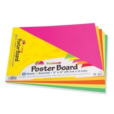 "Poster Board, Recyclable, 11""x14"",5 Sh/PK, Fluorescent Asst."