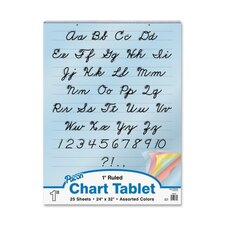 "Colored Paper Charts,Cursive Cover,1"" Ruled,24""x32"",Assorted"