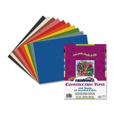 "Economy Construction Paper, 12""x 18"", 100/PK, Assorted"