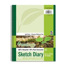"Sketch Diary, 60lb., 70Sheets  per Pad, 11""x8-1/2"", White"