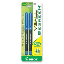 Rolling Ball Pen, Recyclable, Extra Fine, 2/PK, Blue