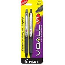 2 Count Fine Point V Ball RT Rollerball Retractable Pen (Set of 6)