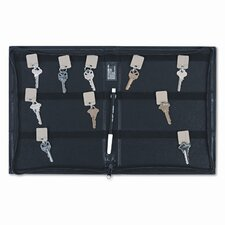 <strong>PM Company</strong> Locking Full-Length Zipper 288-Key Leather-Look Vinyl Case, 9w x 11-5/8, Black