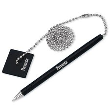 "Counter Pen With 24"" Ball Chain/Base, Black Pen/Black Ink"