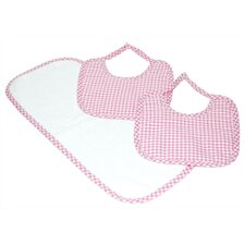Tadpoles Classics Three Piece Bib & Burp Cloth Gift Set in Pink
