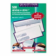 Reveal-N-Seal Double Window Invoice Envelope, Self-Adhesive, White, 500/box