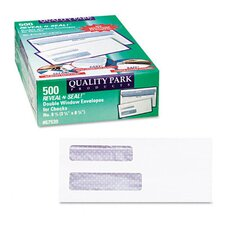 <strong>Quality Park Products</strong> Reveal-N-Seal Double Window Check Envelope, Self-Adhesive, White, 500/box