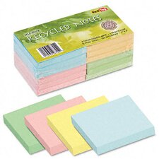 <strong>Redi-Tag Corporation</strong> 100% Recycled Notes, 3 x 3, Four Colors, 12 100-Sheet Pads/pack