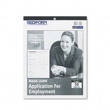<strong>Rediform Office Products</strong> Application for Employment, 8-1/2 x 11, 50-Form Pad