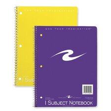 "Spiral Bound Notebook, 1-Sub, Cllg Ruled, 10-1/2""x8"", 3-Hole Punch, 70Sheets, Assorted"