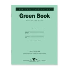 "Exam Book, Wide Ruled, 8/Sheets, 11""x8-1/2"", Green"