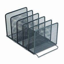 Mesh Stacking Sorter, Five Sections, Metal, 8 1/2w x 14 1/4d x 7 1/2h, Black
