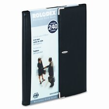 Faux Leather Business Card Book Holds 240 2-1/4 x 4 Cards, Black/Silver