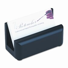 Wood Tones Business Card Holder, Capacity 50 2-1/4 x 4 Cards, Black