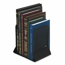 Mesh Bookends with Solid Base, 5-1/4 x 6-1/4 x 5, Steel, Black