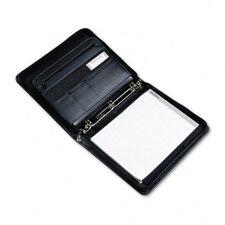 Pad Holder/Ring Binder, Leather Look Padded Vinyl, Zipper, Assorted Pockets, BLK