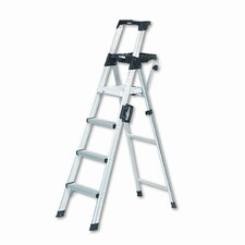 Six-Foot Lightweight Aluminum Folding Step Ladder with Leg Lock and Handle
