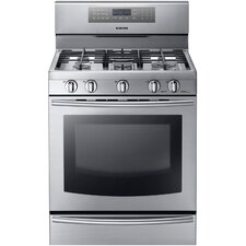 <strong>Samsung</strong> Gas Freestanding Range with Custom Griddle, Wok Grate, 5.8 Cu. Ft. True Convection Oven and Warming Drawer - Stainless Steel
