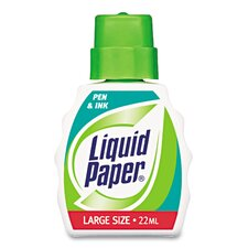 Liquid Paper Pen & Ink Correction Fluid, 22ml Bottle, White