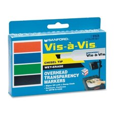 Vis-à-Vis Wet-Erase Overhead Projection Marker, Chisel Point, Assorted, 4/Set