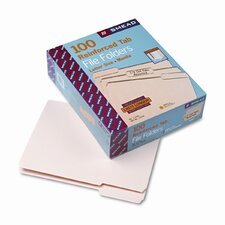 1/3 Cut Assorted Reinforced Top Tab File Folder, 100/Box
