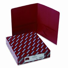 Two-Pocket Portfolio, Embossed Leather Grain Paper, 100-Sheet Capacity, Red